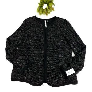 NY Collection Black Sequined Boucle Blazer Women L